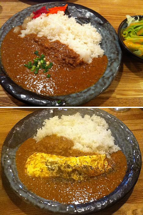 上:特製キーマカレー(やや辛口)700円 下:親子カレー(中辛)950円