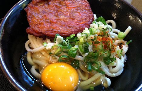 ぶkっかけ+野菜天、生卵